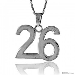Sterling Silver Digit Number 26 Pendant 3/4 in. (18 mm)