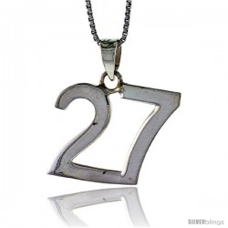 Sterling Silver Digit Number 27 Pendant 3/4 in. (18 mm)