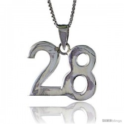 Sterling Silver Digit Number 28 Pendant 3/4 in. (18 mm)