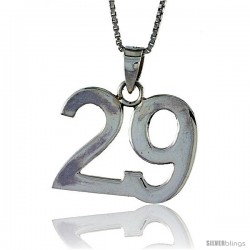 Sterling Silver Digit Number 29 Pendant 3/4 in. (18 mm)
