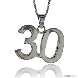 Sterling Silver Digit Number 30 Pendant 3/4 in. (18 mm)