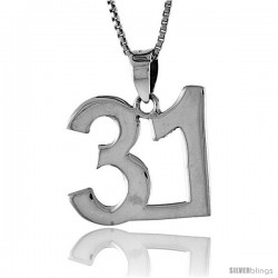 Sterling Silver Digit Number 31 Pendant 3/4 in. (18 mm)