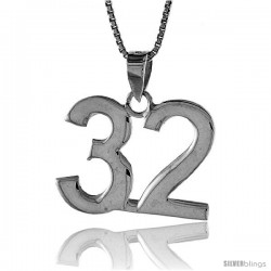 Sterling Silver Digit Number 32 Pendant 3/4 in. (18 mm)