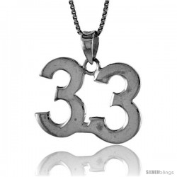 Sterling Silver Digit Number 33 Pendant 3/4 in. (18 mm)