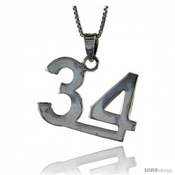 Sterling Silver Digit Number 34 Pendant 3/4 in. (18 mm)