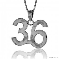 Sterling Silver Digit Number 36 Pendant 3/4 in. (18 mm)