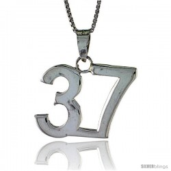 Sterling Silver Digit Number 37 Pendant 3/4 in. (18 mm)