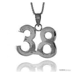 Sterling Silver Digit Number 38 Pendant 3/4 in. (18 mm)