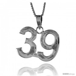 Sterling Silver Digit Number 39 Pendant 3/4 in. (18 mm)