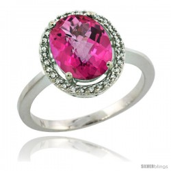 Sterling Silver Diamond Halo Natural Pink Topaz Ring 2.4 carat Oval shape 10X8 mm, 1/2 in (12.5mm) wide