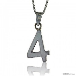Sterling Silver Digit Number 4 Pendant 3/4 in. (18 mm)