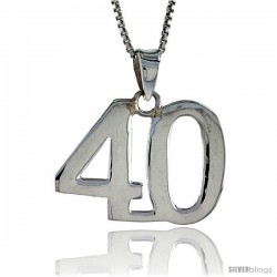 Sterling Silver Digit Number 40 Pendant 3/4 in. (18 mm)