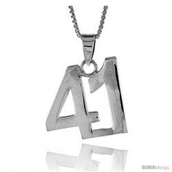 Sterling Silver Digit Number 41 Pendant 3/4 in. (18 mm)