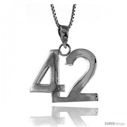 Sterling Silver Digit Number 42 Pendant 3/4 in. (18 mm)