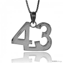 Sterling Silver Digit Number 43 Pendant 3/4 in. (18 mm)
