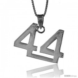 Sterling Silver Digit Number 44 Pendant 3/4 in. (18 mm)