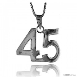 Sterling Silver Digit Number 45 Pendant 3/4 in. (18 mm)
