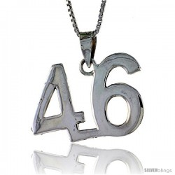 Sterling Silver Digit Number 46 Pendant 3/4 in. (18 mm)