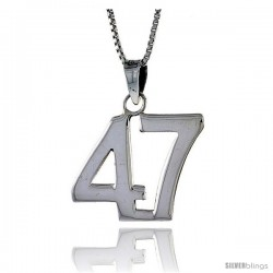 Sterling Silver Digit Number 47 Pendant 3/4 in. (18 mm)