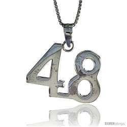 Sterling Silver Digit Number 48 Pendant 3/4 in. (18 mm)