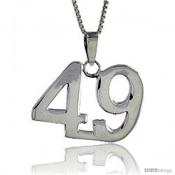 Sterling Silver Digit Number 49 Pendant 3/4 in. (18 mm)