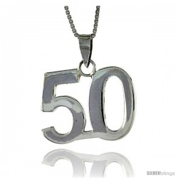 Sterling Silver Digit Number 50 Pendant 3/4 in. (18 mm)
