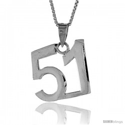 Sterling Silver Digit Number 51 Pendant 3/4 in. (18 mm)