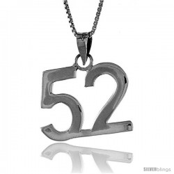Sterling Silver Digit Number 52 Pendant 3/4 in. (18 mm)