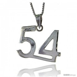 Sterling Silver Digit Number 54 Pendant 3/4 in. (18 mm)
