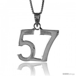 Sterling Silver Digit Number 57 Pendant 3/4 in. (18 mm)