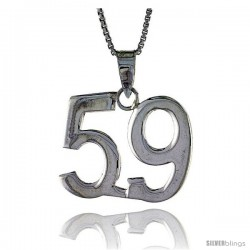 Sterling Silver Digit Number 59 Pendant 3/4 in. (18 mm)