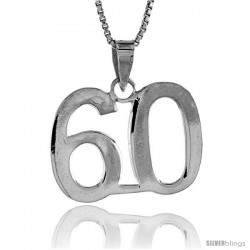Sterling Silver Digit Number 60 Pendant 3/4 in. (18 mm)
