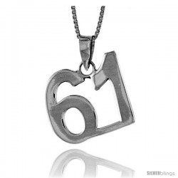 Sterling Silver Digit Number 61 Pendant 3/4 in. (18 mm)