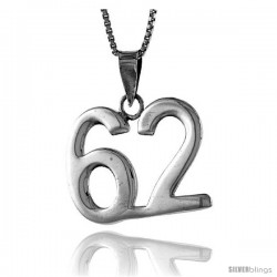 Sterling Silver Digit Number 62 Pendant 3/4 in. (18 mm)