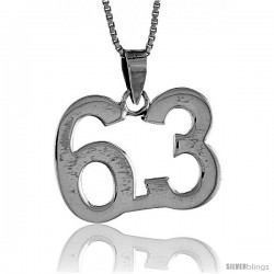 Sterling Silver Digit Number 63 Pendant 3/4 in. (18 mm)