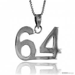 Sterling Silver Digit Number 64 Pendant 3/4 in. (18 mm)