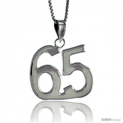 Sterling Silver Digit Number 65 Pendant 3/4 in. (18 mm)