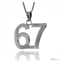 Sterling Silver Digit Number 67 Pendant 3/4 in. (18 mm)