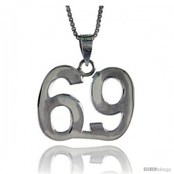 Sterling Silver Digit Number 69 Pendant 3/4 in. (18 mm)