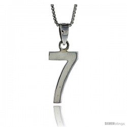 Sterling Silver Digit Number 7 Pendant 3/4 in. (18 mm)