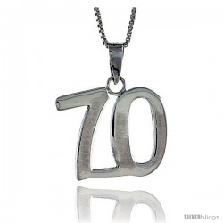 Sterling Silver Digit Number 70 Pendant 3/4 in. (18 mm)