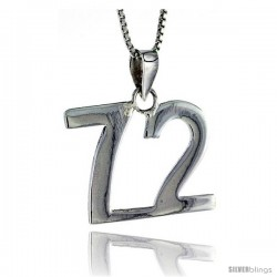 Sterling Silver Digit Number 72 Pendant 3/4 in. (18 mm)