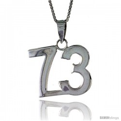 Sterling Silver Digit Number 73 Pendant 3/4 in. (18 mm)