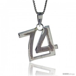 Sterling Silver Digit Number 74 Pendant 3/4 in. (18 mm)