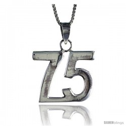 Sterling Silver Digit Number 75 Pendant 3/4 in. (18 mm)
