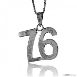 Sterling Silver Digit Number 76 Pendant 3/4 in. (18 mm)