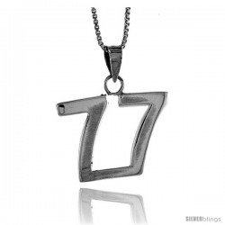 Sterling Silver Digit Number 77 Pendant 3/4 in. (18 mm)
