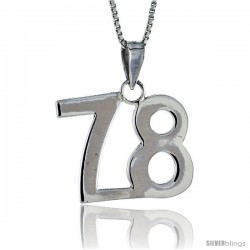 Sterling Silver Digit Number 78 Pendant 3/4 in. (18 mm)