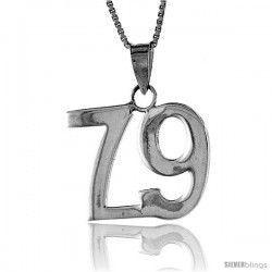 Sterling Silver Digit Number 79 Pendant 3/4 in. (18 mm)