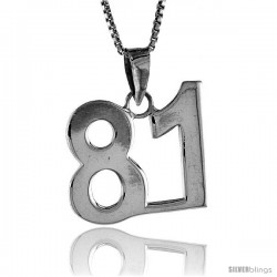 Sterling Silver Digit Number 81 Pendant 3/4 in. (18 mm)